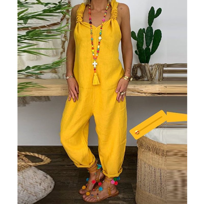 Women's Beach Sleeveless Dungarees Harem Strap Bohemian Holiday Long Pant Casual Loose   Jumpsuit   Baggy Trousers Overalls