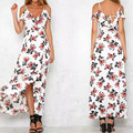 Bazaleas Women 2017 summer Strap V Neck Maxi Dresses Floral Print Ruffle Chiffon Long Dress Sexy Beach Backless Vestidos