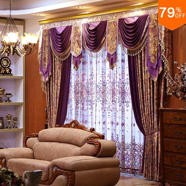 2018 New Hot Luxury Purple Living Room Curtain Magical Pattern Flower On Shining Thread Drapery Luxurious Window