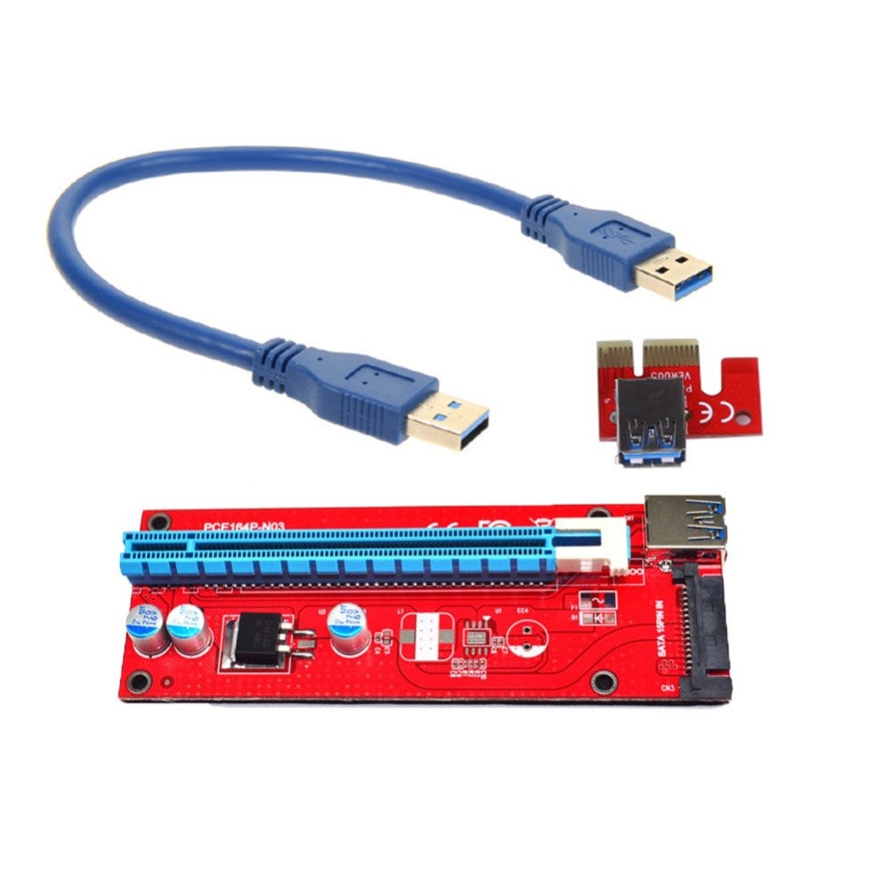 Wholesale 007S PCIe PCI-E PCI Express Riser Card 1x to 16x USB 3.0 Cable Adapter SATA pcie riser for Bitcoin Mining new aad in card pcie 1 to 4 pci express