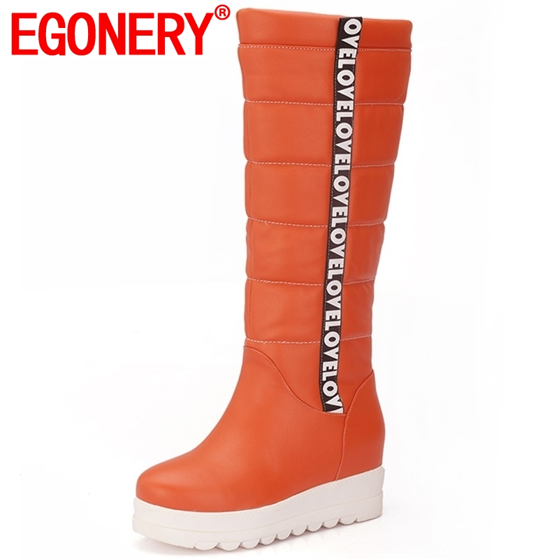 EGONERY winter newest concise casual shoes women outside warm snow boots high wedges platform round toe slip-on knee high bootsEGONERY winter newest concise casual shoes women outside warm snow boots high wedges platform round toe slip-on knee high boots