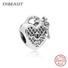 INBEAUT 100% 925 Sterling Silver Love You Key Heart Beads fit Pandora Bracelet s925 Rose Gold Heart-shaped Lock Charms  diy Gift 100% s925 sterling silver key chain personality fashion retro punk style heart shaped sword design gift 2018 new hot sale