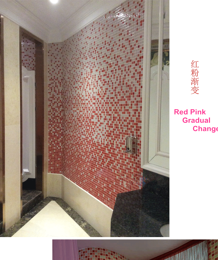 Customized Gradient Red Pink White Glass Mosaic Tile swimming pool