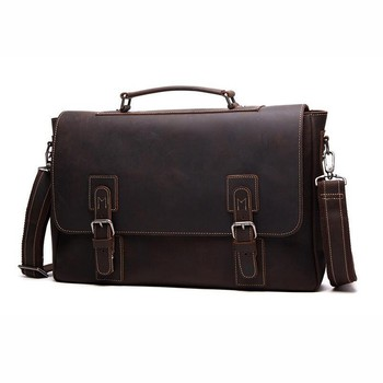 Vintage Brown Genuine Leather Mens Office Bags Briefcase Crazy Horse Leather Messenger Bag 15.6'' Laptop Bag crazy horse genuine leather shell with stand for iphone 6s 6 4 7 inch brown