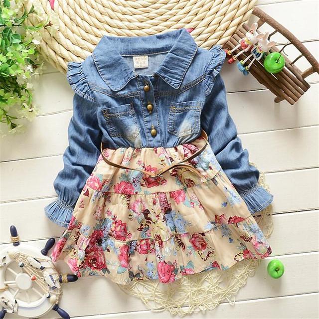 La primavera y el otoño niña ropa de manga larga de moda denim Patchwork y cinturón bebé vestido 2016 venta caliente