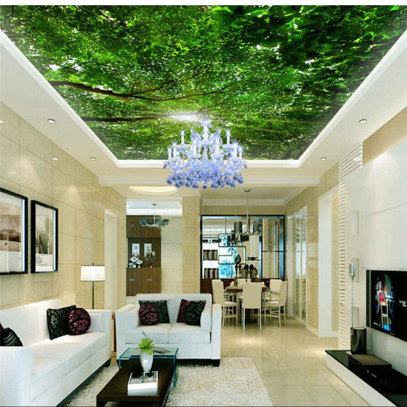 Us 885 41 Offbeibehang Custom Wallpapers 3d Frescoes Under The Dome Of The Green Leaves Hakka Ceiling Zenith Mural Decorative 3d Wallpaper In