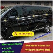 Stainless steel car window frame lower trim for Mercedes Benz V-CLASS V CLASS V250 V260 V260L V220  VITO W447 2015 2016 2017 abs chrome side wing fender rearview door mirror trim cover for mercedes benz v class v250 v260 v220 2014 2015 2016 2017