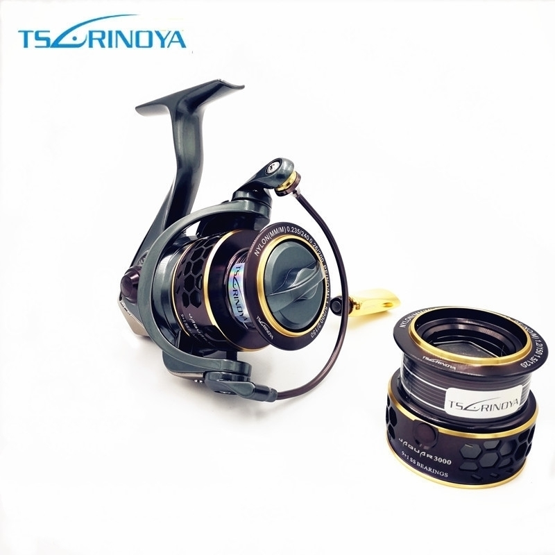 TSURINOYA Jaguar 1000 2000 3000 9 + 1BB Fishing Spinning Reel Carp Saltwater Fishing Reel Spinning Metal Handle 2 Spool Reels Coil