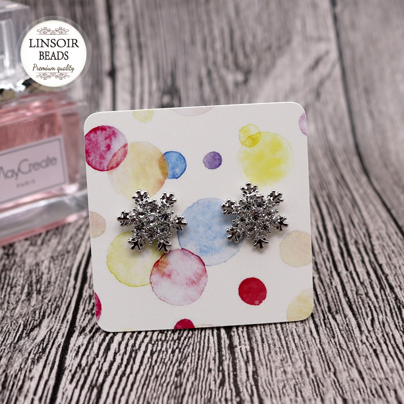 10PCS 5x5cm Various Pattern Paper Jewelry Display Stud Earring Cards Hang Favor Label Tag For Jewelry Making Diy Accessories