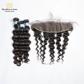 "MFH 2/3/4 Bundles Virgin Malaysian Natural Wave Hair With 13x4 "" Lace Frontal Natural Color 100% Unprocessed Raw Hair No Tangle"