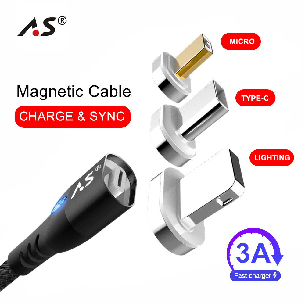 A.S 3A LED Magnetic Charger USB Data Cable For iPhone Micro USB Type C Mobile Phone Fast Charge Magnet Charger USB Cable 3 Plug Зарядное устройство