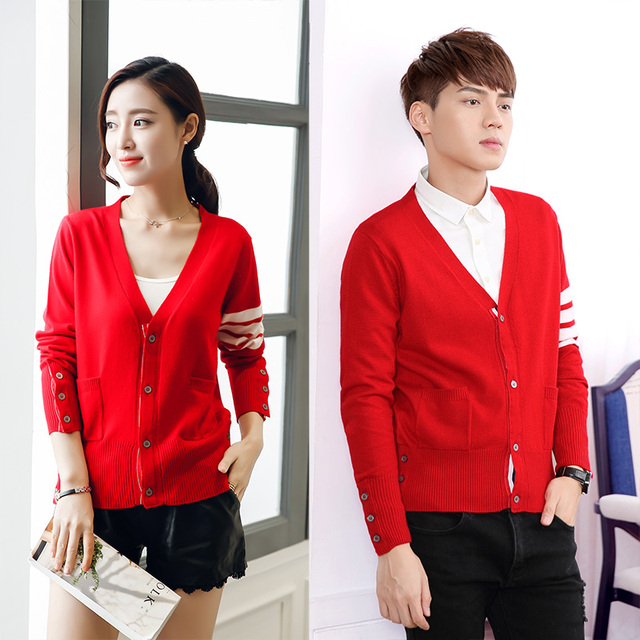 2018 New Spring Fashion Sweater  Lovers Clothing Couples Matching Cardigan Sweater Slim V-neck Sweater Cardigan