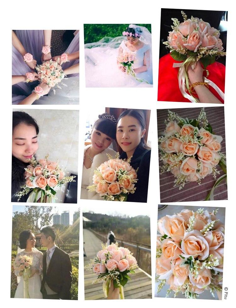 white pink silk flowers bridesmaids bridal Wedding Bouquets rose flowers (10)