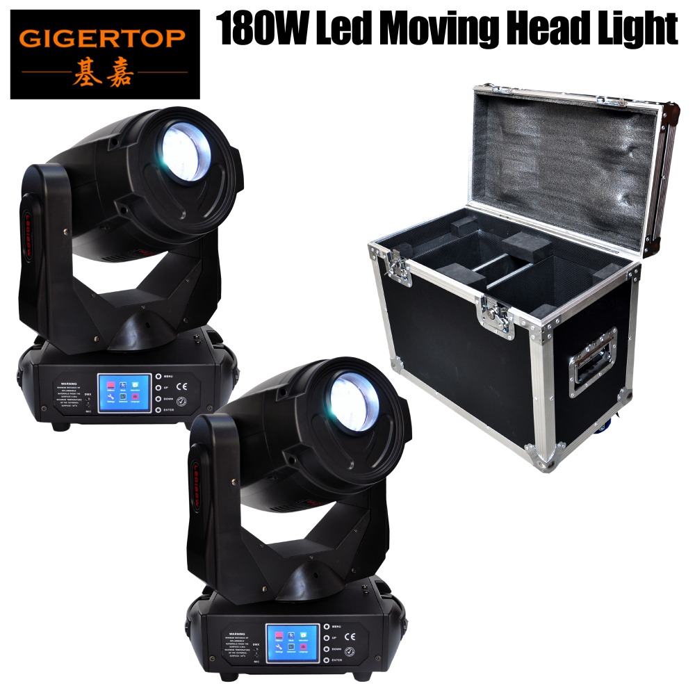 2IN1 Flightcase Pack 180W High Power Led Moving Head Light 17CH DMX LED Moving Yoke 3-Facet Rotating Prism Electronic Strobe