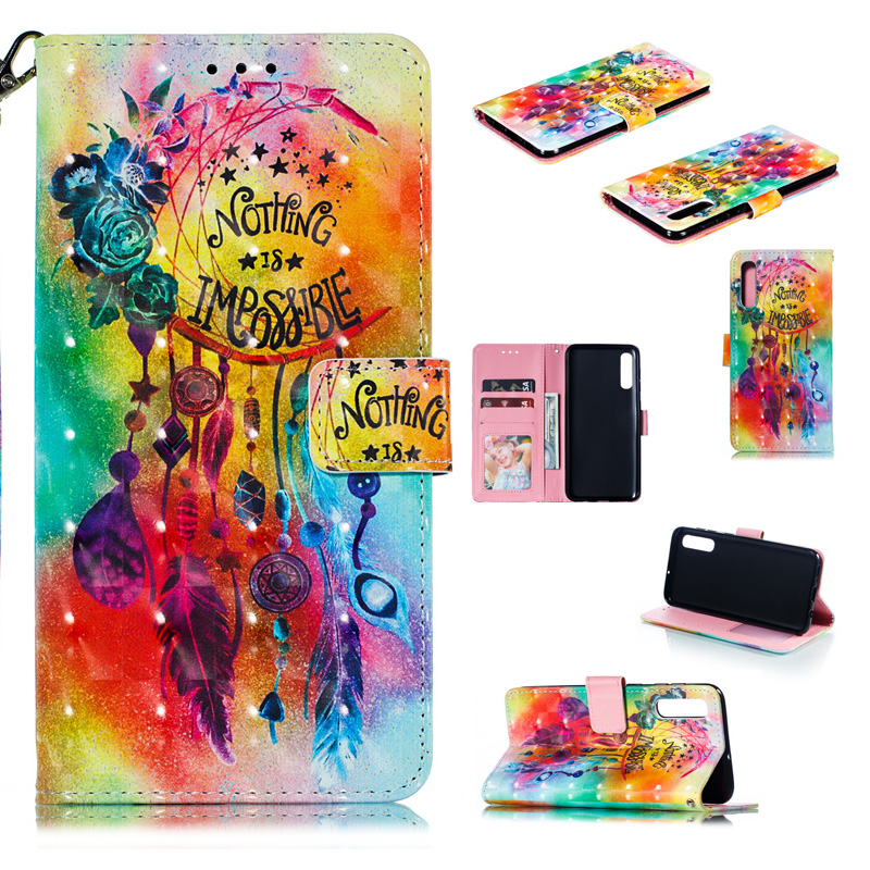 2019 New 3D Mobile Phone Wallet Cover Case For Samsung Galaxy A20 A10 E A40 Case A50 Flip PU Leather Bag A60 Case A70 A30 Pouch in Wallet Cases from Cellphones Telecommunications