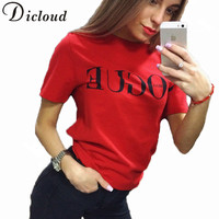 KAYWIDE 2018 Summer Letter Printed T Shirt Women Tops Female Tees T Shirt Red Black Party