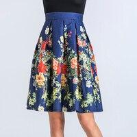 HSPL Floral Printed Váy Womens 2018 Hot New Vintage Đầu Gối chiều dài Kiểu Váy Thanh Lịch với Zipper Lady của Cao Eo Midi Saia