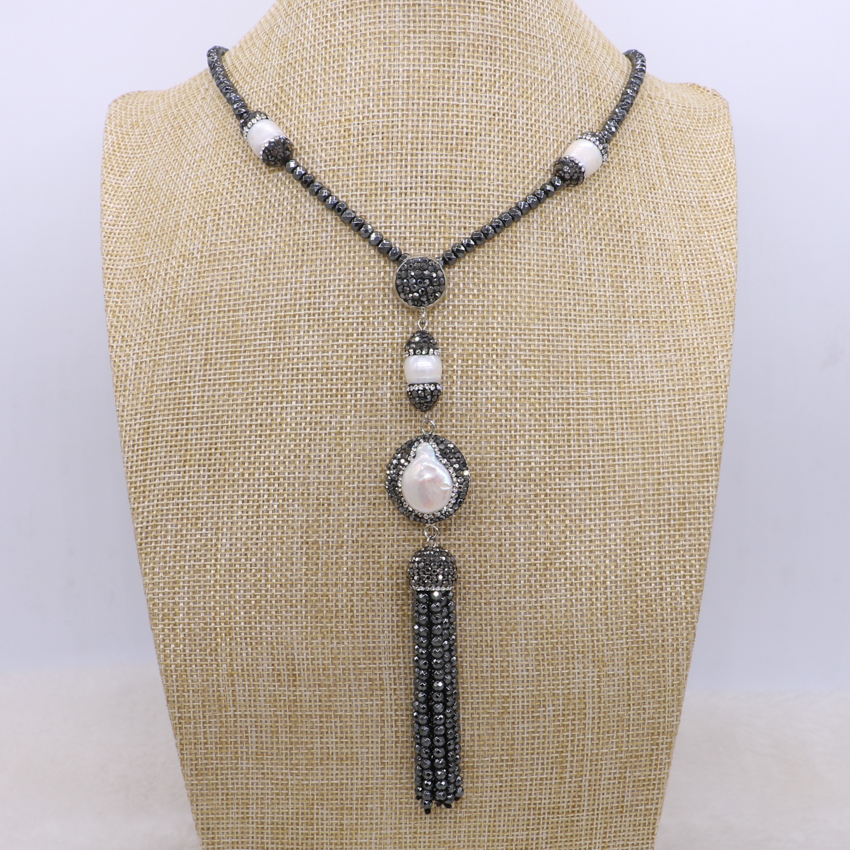 Natural hematite beaded necklace long tassel pendant necklace with natural pearls hematite necklace 1678
