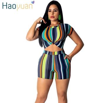 87a5dad0c1 HAOYUAN rayas Sexy conjunto de dos piezas de ropa de verano para mujeres  chándal Club trajes