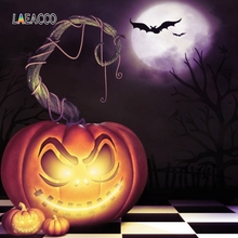 Laeacco Happy Halloween Pumpkin Lantern Scene Photography Background Trick or Treat Photographic Backdrop For Photo Studio