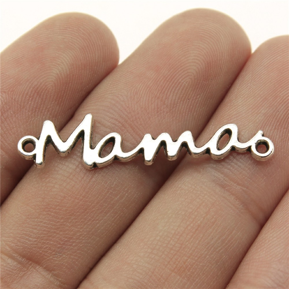 WYSIWYG 20pcs 37x8mm Word Mama Connector Pendants  Jewelry Making Antique Silver Mama Connector Pendants Charm Mama Connector