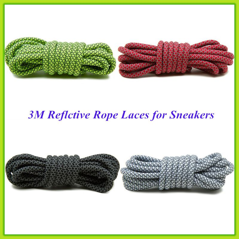 Bestselling New Reflective 3M Rope Laces Round 3M Rope Shoelaces for Sneaker Laces Free Shipping oumily reflective multi purpose paracord nylon rope cord reflective grey 30m 140kg