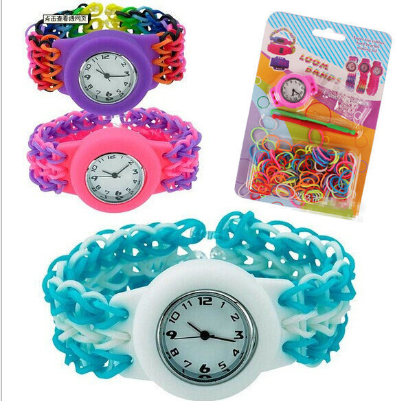 Fashion Diy Rubber Bands Bracelet Watch Set Kids Toys Loom Band