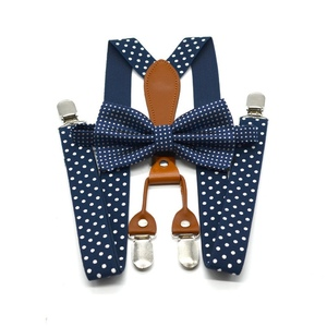Yienws Polka Dot Bow Tie Suspenders for Men Women 4 Clip Leather Suspensorio Adult Bowtie Braces for Trousers Navy Red YiA119
