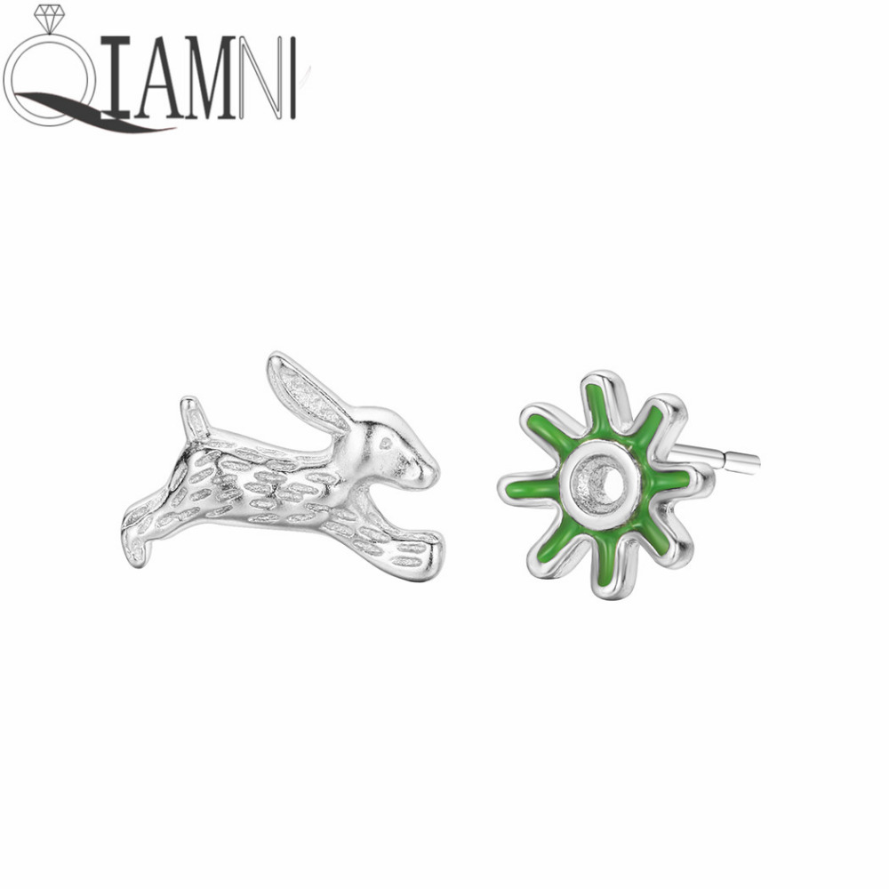 Asymmetric Lovely Animal Rabbit Stud Earrings Creative Girls Bunny Green Sun Flower Earrings Hipster Pet Lovers Jewelry