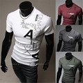 Free shipping 2015 the new summer Simple fashion letters printing design men's short sleeve T-shirt design
