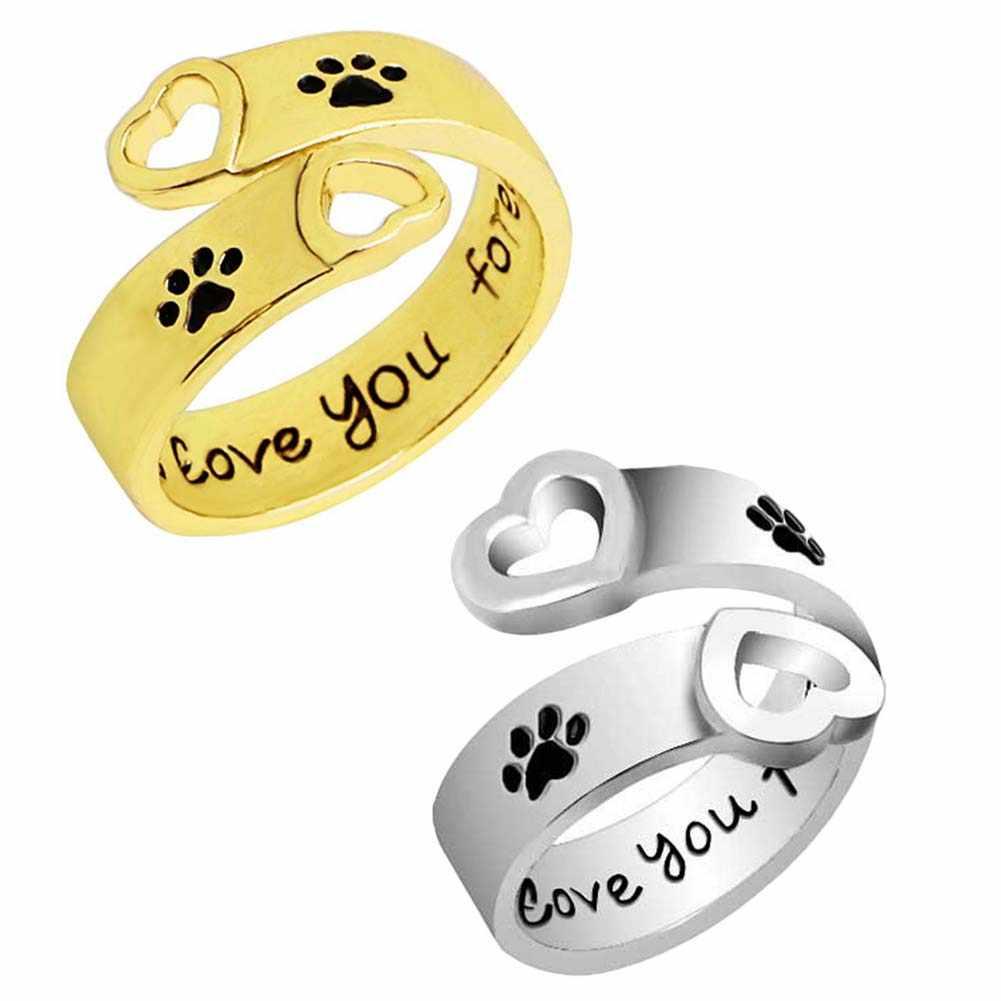 """""""Eu vou te amar para sempre"""" Pegadas de cães Garras Amor Anéis Presente Da Moda Para Animais de Estimação Do Cão Da Cópia Da Pata Coração Oco Anel Pata Mão Carimbada"""