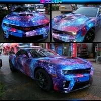 2pcs 50*150 Beautiful Car Body Film Harajuku Inkjet Graffiti Night Sky Universe Painting Car Vinyl Wrap Stickers Wrapping Paper