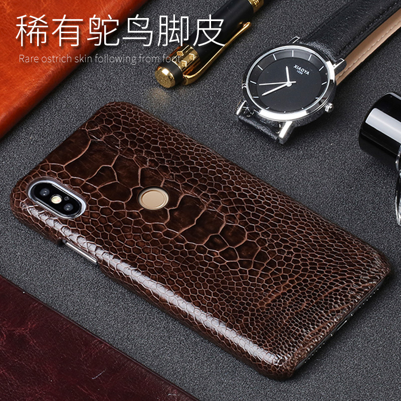 D'autruche naturelles Pied Peau étui de téléphone pour xiaomi mi 5 6 8SE A1 A2 Max 2 mi x2S Note 5 Rouge mi Note 3 4 4X5 5A Plus Couverture arrière