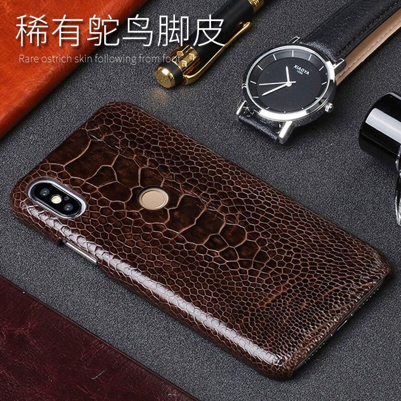 Naturel Autruche Pied Peau Téléphone cas Pour Xiao mi mi 5 6 8SE A1 A2 Max 2 mi x2S Note 5 cas Rouge mi Note 3 4 4X5 5A, Plus La Couverture arrière