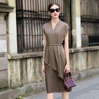 Высокое качество платье женское 91% шелк элегантный дизайн v образный вырез без рукавов Пояса 4 цвета Большие размеры прямое платье Новая мод