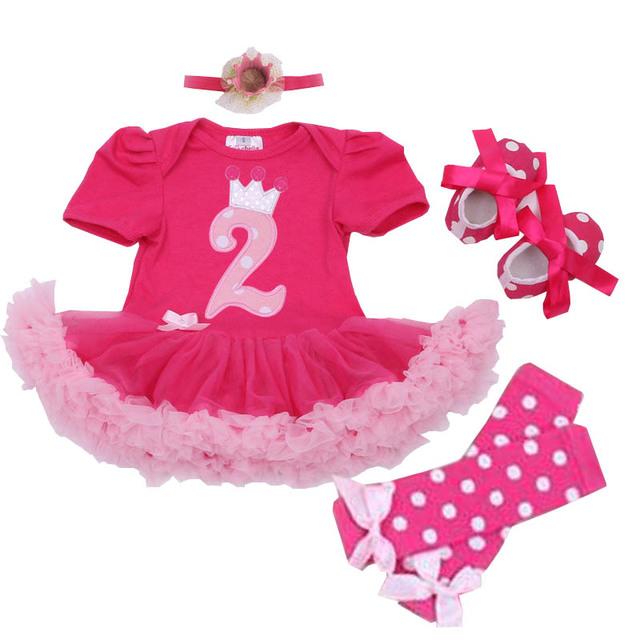 Segundo cumpleaños trajes de carácter del bebé que arropan verano tutu dress + diadema + dot leggings + zapatos primero cumpleaños ropa infantil
