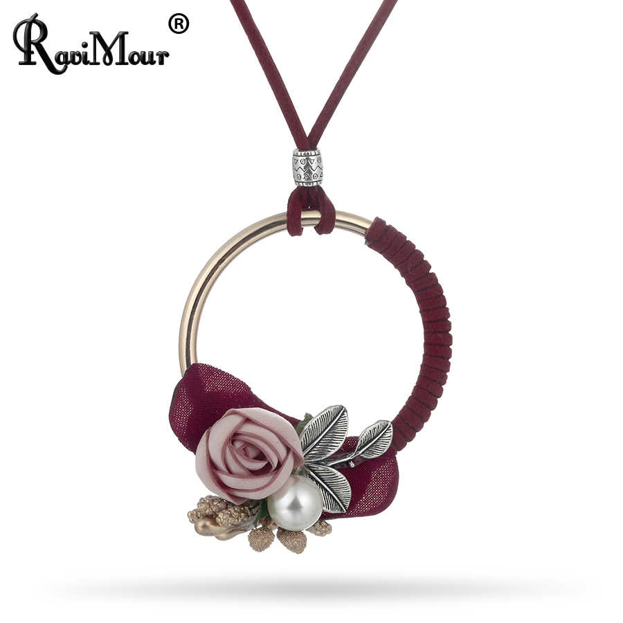 RAVIMOUR Long Leather Chain Steampunk Choker Necklaces Pendants Women Fashion Jewelry Ethnic Flower Simulation Pearl Colar New