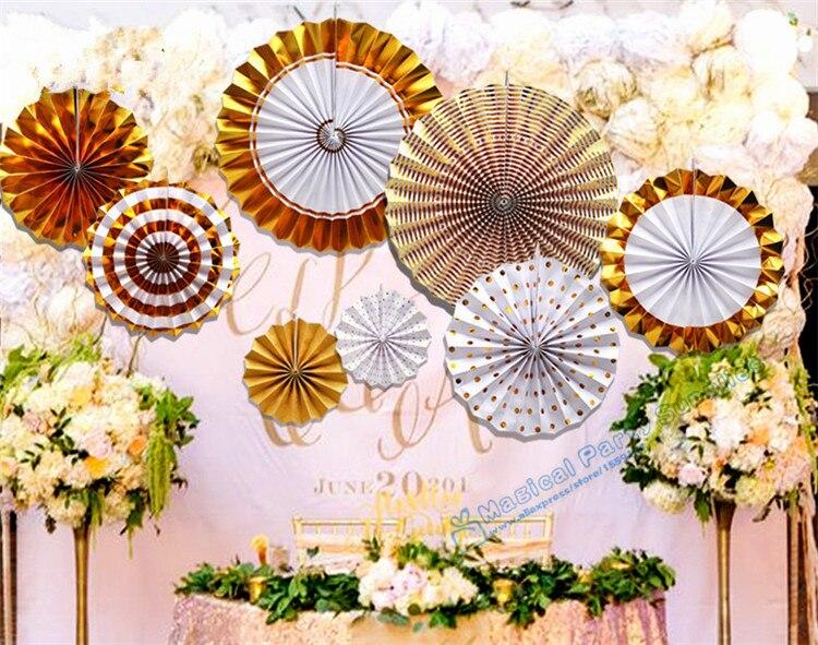 1 set (8pcs) Foil Gold Pinwheel Backdrop Paper Rosette Wedding Giant Paper Flowers Paper Fans Baby Shower Decorations