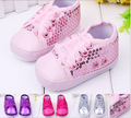 Baby Girl Shoes New Lcae-up Babyshoes infantile hotsale CottonEmbroidered beads and sequins shoes toddler first Walker