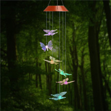 Solar Power Humming Bird LED Light Romantic Windbell Wind Chime Lamp Color Changing for Patio Yard Garden