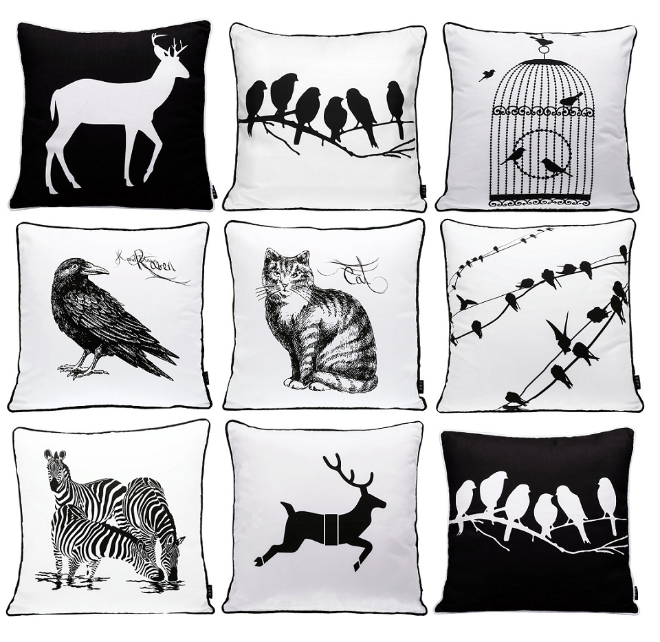 Us 11 54 23 offanimals bird deer stag zebra cat cushion covers black and white birds cage sketch cushion cover decorative sofa seat pillow case in