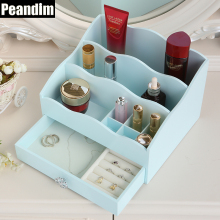 PEANDIM Sky Blue Wooden Makeupx Box Jewelry Storage Case Cosmetics Organizer Case
