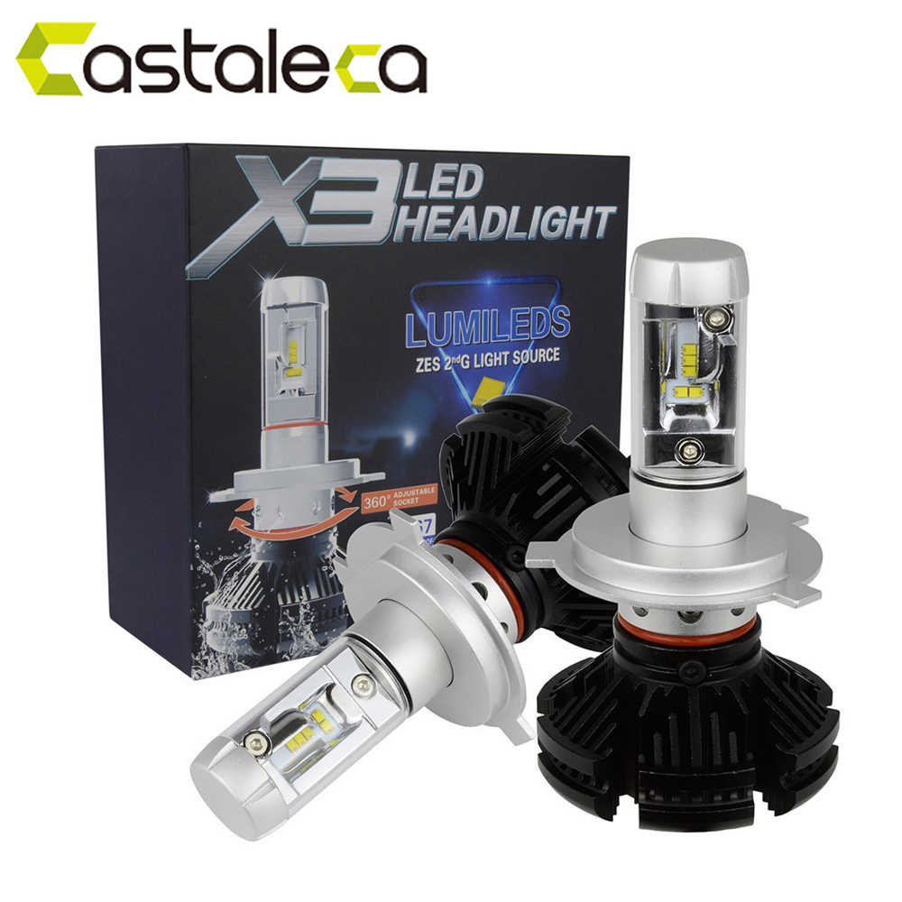 castaleca 1 Pair X3 Car LED Headlights Extremely Bright H4 H7 H11 9005 9006 9007 H13 Automobile headlamp 50W 6000LM Bulbs Kit