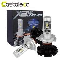 Castaleca 1 Pair X3 Car LED Headlights Extremely Bright H4 H7 H11 9005 9006 9007 H13
