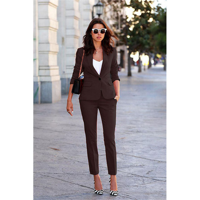 New Fashion Pants Suit Brown Women S Workwear Suits Female Business