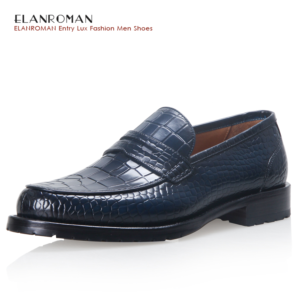 ELANROMAN men shoes luxury brand Full Leather Fashion Business Dress Moccasins Flats Slip on Casual Business Blue Loafers branded men s penny loafes casual men s full grain leather emboss crocodile boat shoes slip on breathable moccasin driving shoes