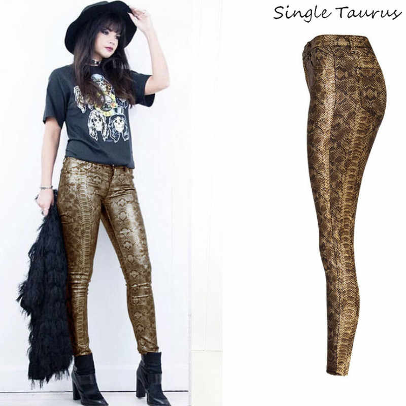 Kobiety nadruk węża spodnie damskie wysokiej talii Push Up obcisłe dżinsy rurki Femme Streetwear zwierząt wzór Patchwork Vintage złote legginsy