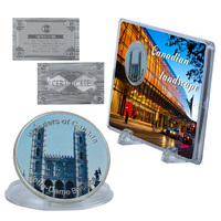 WR Notre-dame Basilica Wonders of Canada Souvenir Coin Quality Famous Building Metal Coins with Great Showing Stand for Gifts