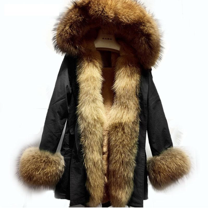 Plus Size 2017 Women Luxury Large Raccoon Fur Collar Cuff Hooded Coat Detachable Rabbit Liner Parkas Outwear Long Winter Jacket luxury finland raccoon fur hooded 90