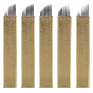 Image 5 - מדריך 3D גבות קעקוע Microblading עט איפור קבוע אקדח נירוסטה קעקוע אספקת + 5Pcs 12 סיכות שטוח להב מחטים